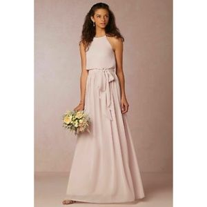Anthro BHLDN Alana Palest Pink Bridesmaid Dress